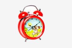 Roter Babywecker lokalisiert auf weißem Hintergrund, Nahaufnahme Lizenzfreie Stockfotografie