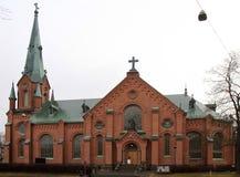 Roter Backstein Alexander Church in Tampere Stockfotografie
