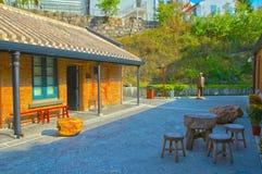 Roter Backstein errichtete Struktur in Hong Kong lizenzfreie stockfotografie