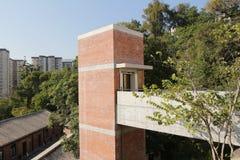 Roter Backstein errichtete Struktur in Hong Kong lizenzfreies stockbild