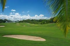 Roter Ball auf T-Stück, flacher DOF Schöne Landschaft eines Golfgerichtes mit Palmen Stockfotos