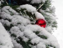 Roter Ball des Spiegels abgewischt mit Schnee Lizenzfreies Stockfoto
