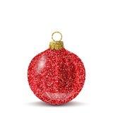 Roter Ball des Vektors Weihnachtsmit Funkelnbeschaffenheit stock abbildung