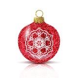 Roter Ball des Vektors Weihnachtsmit silberner Schneeflocke stock abbildung