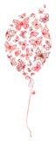 Roter Ballon von Schmetterlingen Lizenzfreie Stockbilder