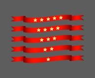 Roter Bandsatz mit Stern - vector Illustration Lizenzfreies Stockbild