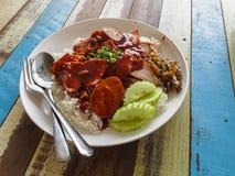 Roter BBQ-Schweinefleisch-Reis Stockbilder