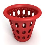 Roter Behälter auf weißem Hintergrund Stockfotografie