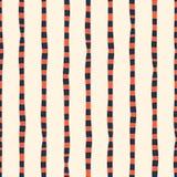 Roter blauer wei?er nahtloser Vektorhintergrund der vertikalen unregelm??igen Handgezogenen Streifen Linien wiederholend, extrahi stock abbildung