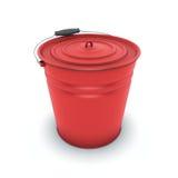 Roter Blecheimer Stockbild