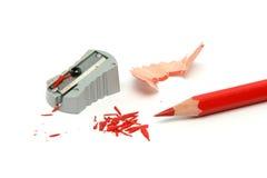 Roter Bleistift geschärft Stockfotos