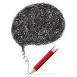 Roter Bleistift mit leeren Blasen für Textikonen Lizenzfreie Stockfotos