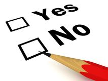 Roter Bleistift mit Yes und keinen Checks auf Weiß Stockbilder