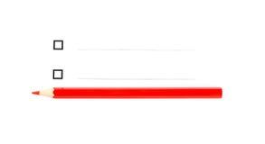 Roter Bleistift unter zwei unticked Checkboxes Lizenzfreies Stockfoto