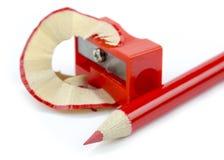 roter BleistiftBleistiftspitzer Lizenzfreies Stockbild
