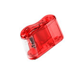 Roter Bleistiftspitzer lokalisiert Lizenzfreies Stockbild