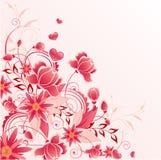 Roter Blumenhintergrund mit Verzierung Lizenzfreies Stockfoto