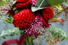 Roter Blumenstrauß mit Garten-Rosen, Eukalyptus und Dahlien Stockfotos
