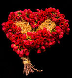 Roter Blumenstrauß von den roten Glockenblumen auf Schwarzem lokalisiert Stockfoto
