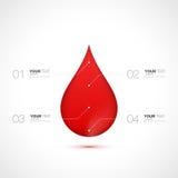 Roter Blutstropfen mit numerierter infographics Schablone Stockfotografie