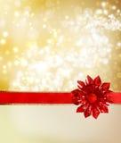 Roter Bogen und Farbband mit goldenen Leuchten Lizenzfreie Stockfotos