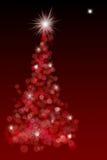 Roter bokeh Weihnachtsbaum mit Stern lizenzfreie abbildung