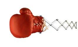 Roter Boxhandschuh auf Frühling Stockbild