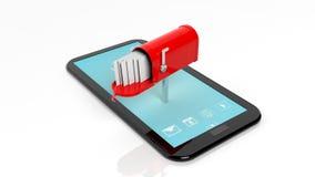 Roter Briefkasten mit mit Umschlägen auf Tablettenschirm Stockbilder