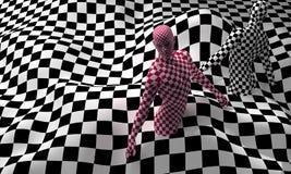 Roter checkered Mann des schwarzen Endes Lizenzfreie Stockfotos