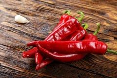 Roter Chili Pepper Draufsicht, horizontaler Schuss lizenzfreies stockfoto