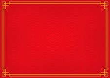 Roter chinesischer Hintergrund mit gelbes Goldgrenze Stockfoto