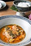 Roter Curry mit thailändischen Auberginen lizenzfreies stockfoto