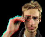roter cyan-blauer Mann des Störschub-3D Lizenzfreies Stockbild
