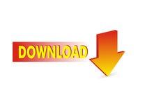 Roter Downloadpfeil Lizenzfreies Stockfoto