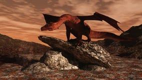 Roter Drache auf einem Lavafluß Stockfoto