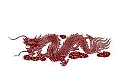 Roter Drache auf weißem Hintergrund Stockbilder