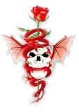 Roter Drache mit dem Schädel und stieg - übergeben Sie abgehobenen Betrag Stockfoto