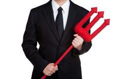 Roter Dreizack des Geschäftsmann-Griffs lokalisiert Stockfoto