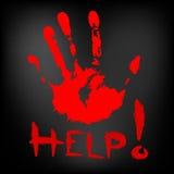Roter Druck meiner Hand auf dunklem Hintergrund Stockfoto
