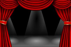 Roter Effekt des Samts curtain vektor abbildung