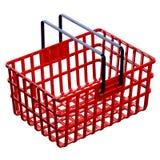 Roter Einkaufskorb lokalisiert auf weißem Hintergrund Stockfotografie