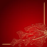 Roter Einladungsrahmen mit Goldblume Lizenzfreies Stockbild