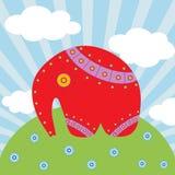 Roter Elefant auf dem schönen Hintergrund Stockfotos