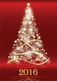 Roter eleganter Hintergrund 2016 mit Weihnachtsbaum Lizenzfreies Stockfoto