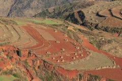 Roter Erdbereich in Yunnan Stockfotos