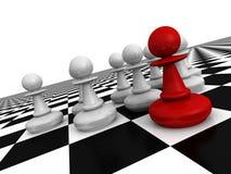 Roter Führer Pawn In Forward des Teams Unterschiedliche Kugel 3d vektor abbildung