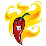 Roter falscher extrem heißer Karikaturpaprikapfeffercharakter auf Feuer Stockfoto