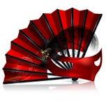 Roter Fan und Maske mit Federn Stockbild