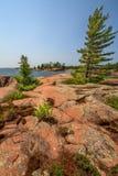 Roter Felsen an der georgischen Bucht Ontario Kanada Lizenzfreies Stockfoto