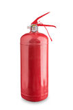 Roter Feuerlöscher auf einem weißen Hintergrund Stockfotos